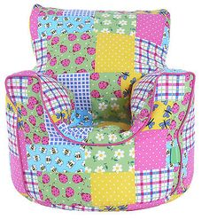 Cotton Patchwork Bean Bag Arm Chair with Beans Toddler Size From BeanLazy  | eBay