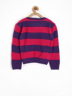 Myntra FS Mini Klub Girls Pink & Purple Striped Sweater 1019151 | Buy Myntra FS Mini Klub Sweaters at best price online. All myntra products with price trends shop online on desktop