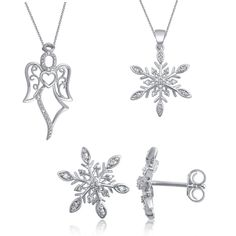 Silver Overlay Diamond Accent 3 Piece Fashion Jewelry Set with Snowflake Earrings ,Snowflake Pendant and Angle Pendant (I-J,I3). Set Includes: Necklace and Earrings Jewelry Type: Fashion Stone Shape: