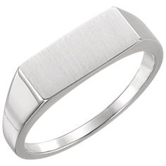 14kt White Men's Rectangle Signet Ring