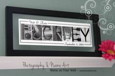 Wedding gift- name art w/ last name and wedding date