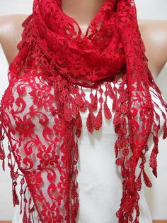 Red Lace Scarf Shawl, Red Cowl Scarf Shawl, Valentine's Scarf, Red Wedding Scarf, Gift for Her For Mom, Fashion Women Accessories, ScarfClub...