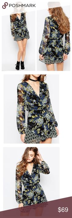 Band of Gypsies romper Gorgeous floral romper, chiffon material.  Crisp finish  All-over print V-neckline Wrap design to front  Self tie waist belt to cinch in the waist  Slim fit - cut closely to the body  Hand wash 100% Polyester. no trades Band of Gypsies Pants Jumpsuits & Rompers