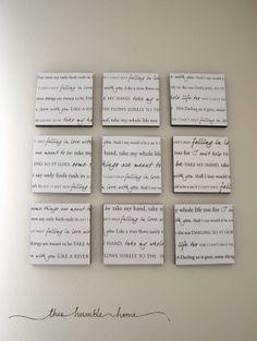 DIY canvas art with first dance wedding lyrics. by lorene