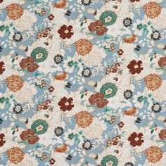 Aqua+Orange+and+Beige+Large+Dense+Flower+Garden+Print+Linen+Upholstery+Fabric