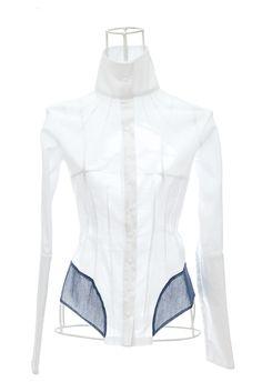 Chemise femme cintrée en voile blanc et tulle pétrole MOMO Ken Okada http://shop.ken-okada.com/fr/8-okada-l-art
