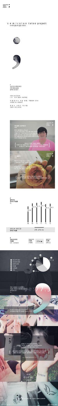 """'세미콜론 타투'의 눈물 담긴 의미…""""끝까지 포기말라"""" [인포그래픽] #Semicolon / #Infographic ⓒ 비주얼다이브 무단 복사·전재·재배포 금지"""