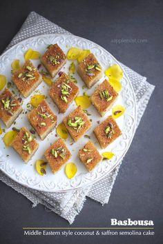 Coconut & Saffron Semolina Cake • Basbousa