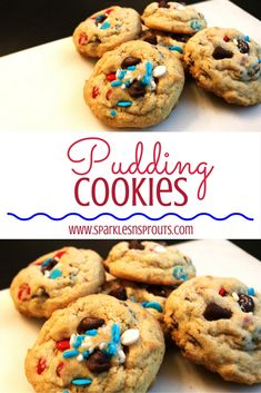 Delicious Pudding Cookies that are loaded with fun red, white & blue sprinkles making them perfect for the 4th of July...or use any sprinkle combo you like!!