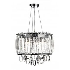 A contemporary design, double insulated, circular ceiling pendant light supported on thin wires. Great for lighting over modern dining tables. The chrome frame has a faceted patterned outer glass with crystal glass beads and droplets inside to create a real sparkle.