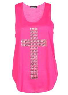 Embellish Cross Casual Vest Top / Fuscia - Womens Clothing Sale, Womens Fashion, Cheap Clothes Online | Miss Rebel