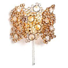 1960s Palwa Two-Light Gilt Brass and Diamond Shaped Glass Scone