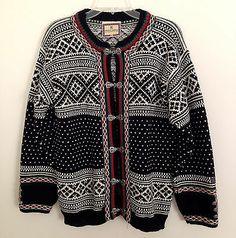 Dale of Norway Classic Fair Isle Norwegian Wool Cardigan Sweater ~ Size XS Norwegian Knitting, Black White Red, Vintage Knitting, Wool Cardigan, Knit Patterns, Black Sweaters, Bunt, Norway, Scandinavian