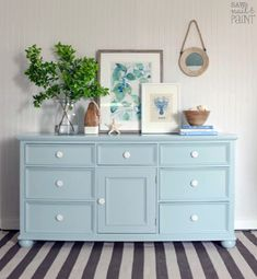 Loving this beachy vibe from Saw Nail and Paint!   This pine dresser was given a facelift with custom mix of 1 part Persian Blue + 1 Part Snow White Milk Paint and sealed with High Performance Topcoat in flat. Check out http://www.sawnailandpaint.com/2017/04/13/fill-old-hardware-holes/ for all the details of this project.