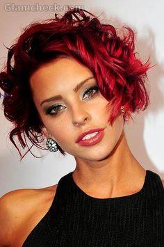 Courtney Davies sports Red crop hairstyle