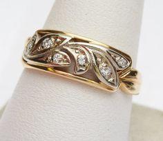 14kt Filigree 8 pt Diamond Band 1940s by KlinesJewelry on Etsy, $300.00