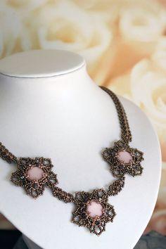 Tutorial for beadwoven necklace 'Flora' PDF by TrinketsBeadwork