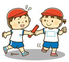 リレーでバトンパスをする男の子と女の子のイラスト(ソフト)