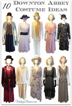 10 Downton Abbey Costume ideas for women at VintageDancer com . DIY, thrifted and new clothing to use for your roaring twenties Downton Abbey inspired fashion.