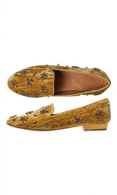Plümo - Antik Batik Old Gold Velvet Shoes