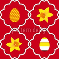 Easter Daffodils Red by Martina Stadler available for download on patterndesigns.com Vector Pattern, Pattern Design, Daffodil Flower, Coloring Easter Eggs, Repeating Patterns, Daffodils, Abstract Pattern, Easter Bunny, Orange