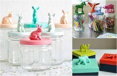 Reutilizar figuras de animales - Botes de cristal o cajas con la tapa pintada con un animal