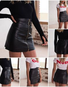 Gender: Women Style: Fashion Pattern Type: Solid Silhouette: Pencil Dresses Length: Above Knee, Mini Waistline: Empire Decoration: None Material: PU Edgy Outfits, Fashion Outfits, Style Fashion, Womens Fashion, Night Out Outfit, Black Leather Skirts, Winter Outfits Women, Toddler Girl Outfits, Look Cool
