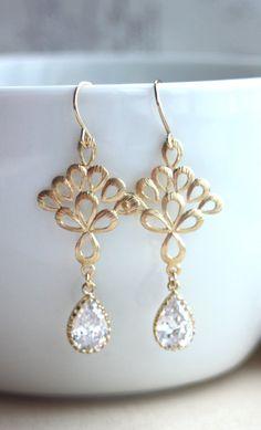 Gold Chandelier Earrings Cream White Teardrop Pearl Dangle ...