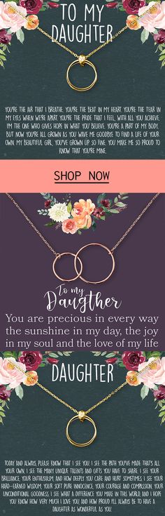 The love between you and your Daughter is forever. Show your love for Daughter with this beautiful interlocking circle design symbolizing the connection between you. This elegant piece is designed to shine and make her feel like the princess she really is.