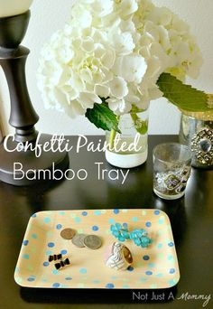 DIY confetti painted bamboo tray from Not Just A Mommy   CherylStyle.com