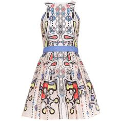 Peter Pilotto Circle waffle-jacquard dress ($1,500) ❤ liked on Polyvore featuring dresses, light pink, jacquard dress, abstract print dress, peter pilotto dresses, flippy skirt and abstract dress
