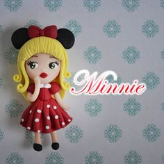 Chibi minnie de mickey mouse, polymer fimo a la main clay