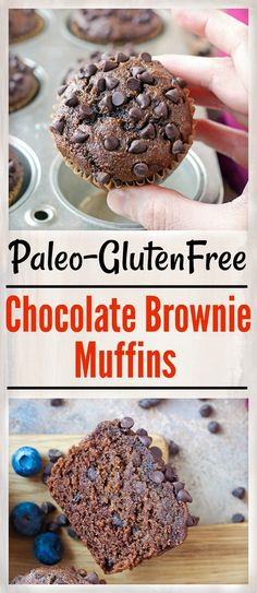 These Paleo Chocolate Brownie Muffins are so easy to make and incredibly delicious! Rich moist and packed with chocolate. They are gluten free dairy free naturally sweetened and loved by everyone! Zucchini Muffins, Muffins Blueberry, Paleo Dessert, Dessert Recipes, Brunch Recipes, Snack Recipes, Paleo Chocolate Brownies, Chocolate Desserts, Chocolate Muffins