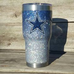 Dallas Cowboys Glitter Yeti RTIC Cup Tumbler by TexasKateCups