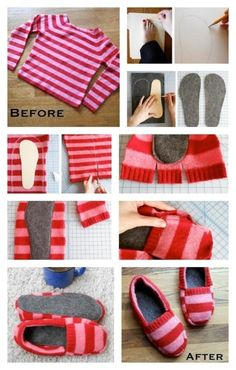 DIY Sweater Slipper crafts craft ideas easy crafts diy ideas diy crafts diy clothes easy diy fun diy diy shirt diy shoes craft clothes craft fashion craft shirt fashion diy craft shoes winter crafts by sally tb Fabric Crafts, Sewing Crafts, Sewing Projects, Diy Crafts, Art Projects, Garden Projects, Sewing Hacks, Sewing Tutorials, Sewing Patterns