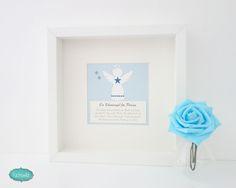 fuchswild - personalisierte Schutzengel Bilder zur Taufe und Geburt, Schutzengel im Rahmen Engelsform klein blau