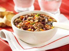 Hearty Beef Minestrone Soup Recipe by Canadian Beef Gourmet Recipes, Beef Recipes, Soup Recipes, Cooking Recipes, Healthy Recipes, Beef Meals, Kid Friendly Dinner, Kid Friendly Meals