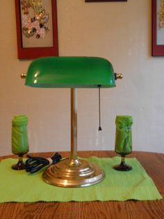 Vintage Brass Office Lamp, Green Shade Library Table Lamp