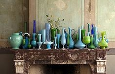 Collection of blue and green vases