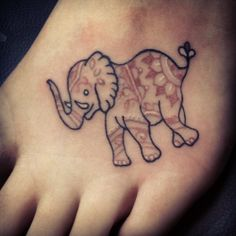 elephant tattoo, i would love to do the design in my dove on my foot