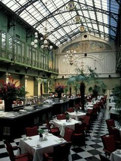 size: Photographic Print: Grand Hotel Krasnapolsky and Winter Garden Restaurant, Amsterdam, Holland by Nik Wheeler : Artists Bar Restaurant Design, House Restaurant, Atrium Restaurant, Restaurant Bathroom, Restaurant Photos, Restaurant Interiors, Restaurant Ideas, Architecture Restaurant, Garden Architecture