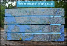 How to decoupage a crate with a map from Simplicity In The South