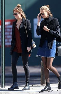 Family time: Dakota took her 15-year-old sister shopping in New York...