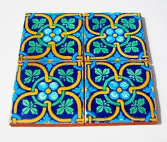 Mexican tile, tribal tile,housewares,colorful,tile coaster, house decor, mexican fiesta on Etsy, $12.00