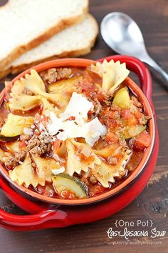 Celebrate cooler weather with an easy one-pot lasagna soup! It's the perfect comfort food dinner that's a family-pleaser, and all cooked in one pot! #winning ;)