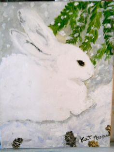 Snow Bunny,8x10 acrylic by Kat Mereand | Flickr - Photo Sharing!