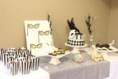 masquerade party dessert table