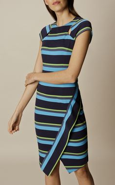 Karen Millen, STRIPED ASYMMETRIC PENCIL DRES Blue/Multi