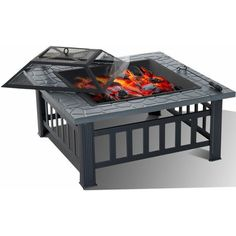 IN STOCK: best prices on 81CM Garden Fire Pit Brazier Patio BBQ Firepit Table with BBQ Grill, PM0161. Fire Pit Grill, Bbq Grill, Fire Pits, Outdoor Garden Furniture, Outdoor Decor, Garden Fire Pit, Fire Pit Table, Faux Stone, Warm And Cozy