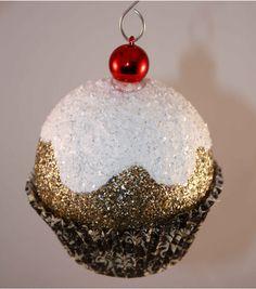 Gold Damask Cupcake Christmas Ornaments